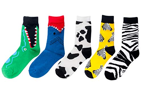 Unisex Novelty Crazy Funky Colorful Casual Fruit Crew Trendy Happy Party Socks-Crocodile, Shark, Cow, Zebra -