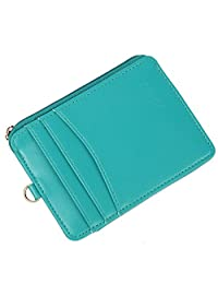 Women Wallet RFID Card Holder Card Case Fashion Credit Card Case with Key Ring (Green)