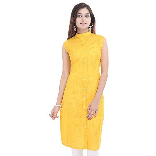Chichi Indian Women Kurta Kurti Sleeve Less XX-Large Size Plain Straight Yellow Top by CHI