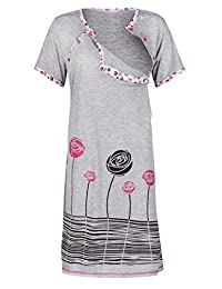 Happy Mama. Womens Maternity Nursing Breastfeeding Nightdress Shirt Gown. 135p
