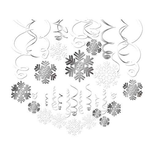 Merry Christmas Party Snowflake Hanging Swirl Decorations,Winter Wonderland Party Decorations Hanging Ornament Supplier for Merry Christmas Xmas Happy New Year Decorations30pcs