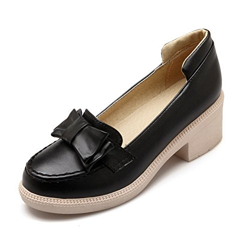 Women's Round Toe Square Heel Korean Casual Shoes with Buckle Black - 7