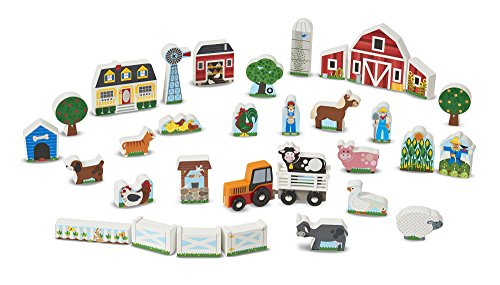 Melissa & Doug Wooden Farm & Tractor Play Set (33 pcs) (Wooden Barn Set)