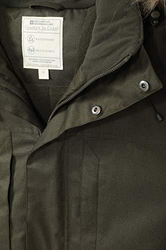Mountain Warehouse Veste Longue pour Hommes Gorge – Imperméable, léger, Manteau d'hiver à Capuche en Fausse Fourrure…