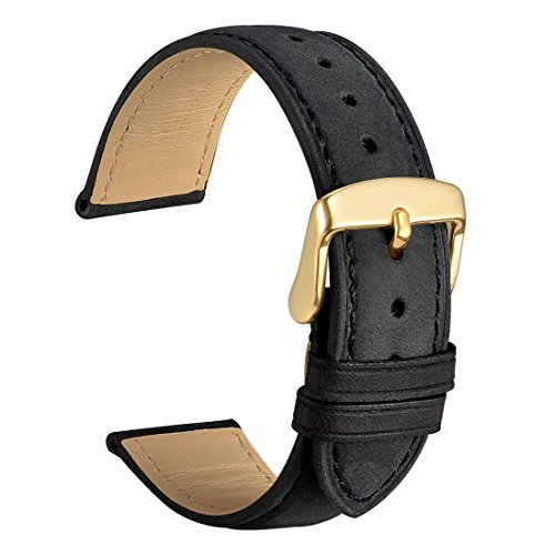 WOCCI 18mm Watch Band - Vintage Leather Watch Strap Black with Gold Buckle (Tone on Tone Stitching)