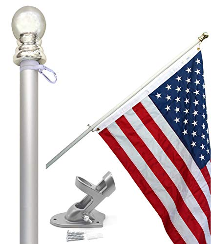 Flag Pole Kit - Includes 3x5 Ft American Flag Made in USA, 6 Foot Tangle Free Flag Pole, and Flagpole Bracket Holder Kit (Silver) (Kit American Flag)