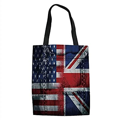 IPrint Union Jack,Alliance Togetherness Theme Composition of UK and USA Flags Vintage Decorative,Navy Blue Red White Printed Women Shoulder Linen Tote Shopping Bag