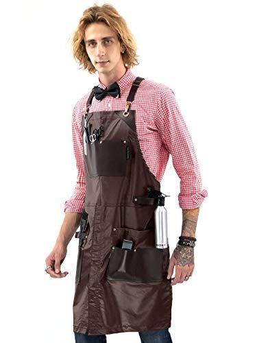 - Barber Apron - Leather Straps, Pockets, Reinforcements - Crossback - Coated Brown Twill, Tool Pockets, Split-Leg - Adjustable for Men, Women - Barista, Bartender, Hairstylist, Salon