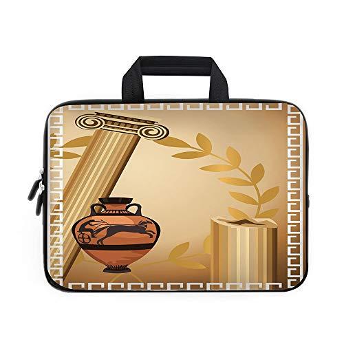Cinn Roll - Toga Party Laptop Carrying Bag Sleeve,Neoprene Sleeve Case/Antique Greek Columns Vase Olive Branch Hellenic Heritage Icons/for Apple Macbook Air Samsung Google Acer HP DELL Lenovo AsusLight Brown Cinn