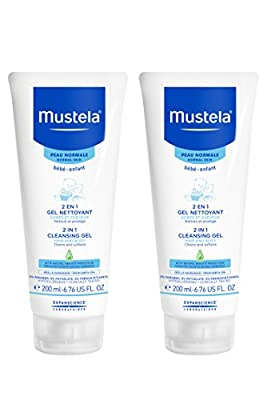 Mustela 2 in 1 Cleansing Gel, Baby Body & Hair Cleanser for Normal Skin, Tear-Free, with Natural Avocado Perseose