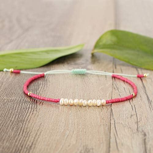 KELITCH Shell Pearl Friendship Bracelet Handmade Braided Seed Beaded Strand Bracelet Nice Women Gift