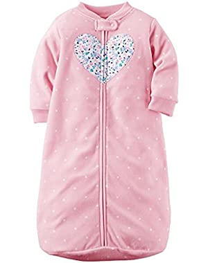 Baby Girls Pink Polka Dot Heart Applique Zip Up Fleece Sleepsack, Bag