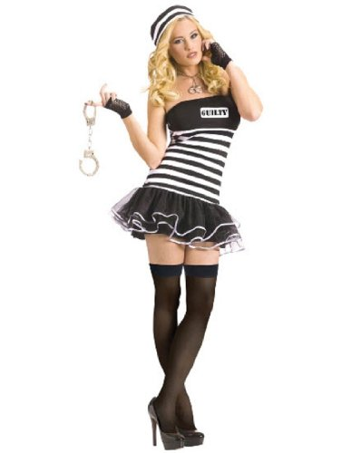 Sexy Guilty Prisoner Costumes (FunWorld Women's Guilty Conscience Adult Costume, Black/White, Medium/Large)