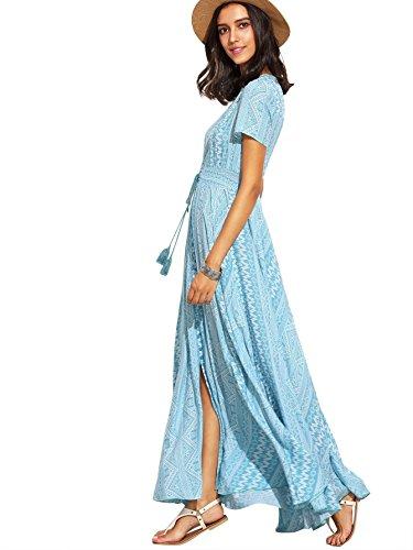 Donne Maxi Stampa Spaccatura 1 Tasto Vestito Flowy Floreale blue Multicolore Milumia Fino Delle Partito ZzqUUXw5