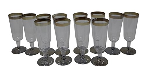 12 Pcs Disposable Champagne Glass w/Silver Trim Base | Indoor/Outdoor Cocktail, Drink Party Reusable Glasses, Christmas Winter Party Celebration, New Year Party Disposable Glasses
