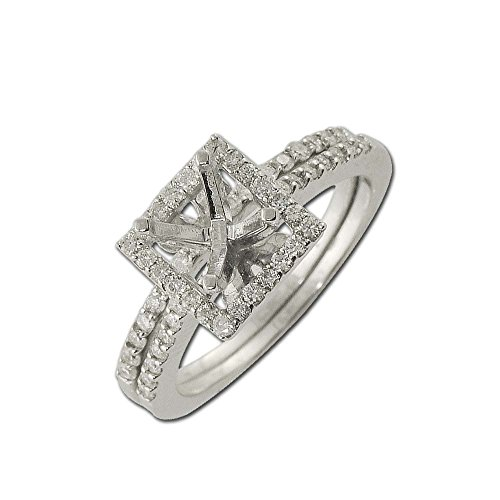 TriJewels Diamond Bridal Set with Halo Semi Mount Ring & Wedding Band 0.40 ctw in 14K White Gold.size 5.5