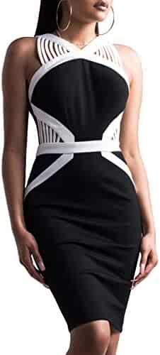 d7444a97d034 Hego Women s Black Club Night Out Bandage Dress Hollow Out for Special  Occasion H5605