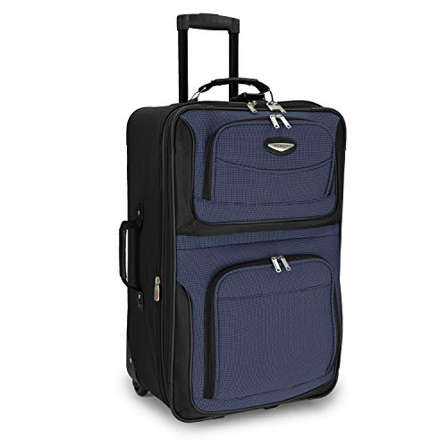 Travelers Choice Checked-Medium, Navy (Best Suitcase Brands In India)