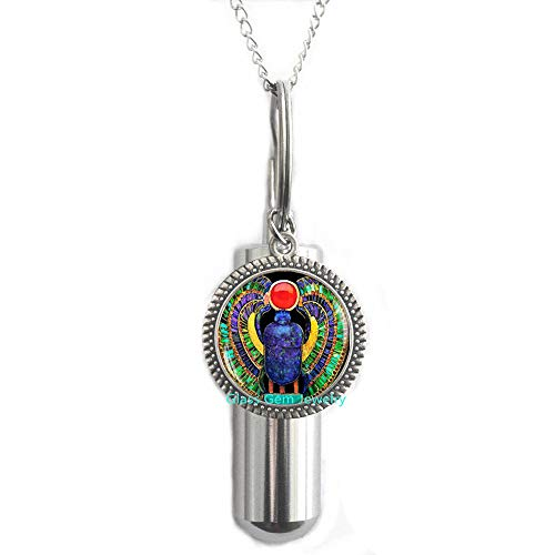 Egyptian Scarab Cremation URN Necklace, Scarab Jewelry, Ancient Egypt Jewelry, Egyptian Jewelry, Scarab URN, Egyptian Scarab, Men's Scarab Cremation URN Necklace,Q0112