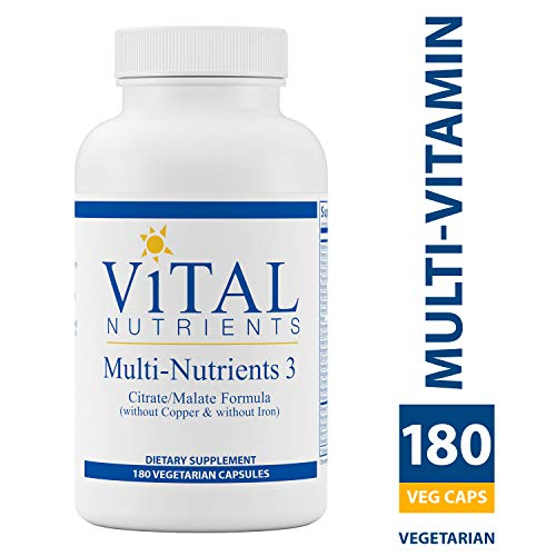 Multi Nutrient System - Vital Nutrients - Multi-Nutrients 3 - Citrate/Malate Formula (Without Copper or Iron) - Multi-Vitamin/Mineral with Potent Antioxidants - Gentle Bioavailable Form - 180 Vegetarian Capsules per Bottle