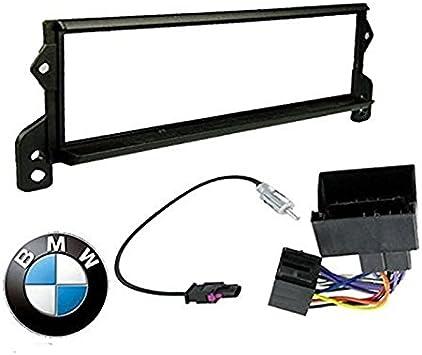 Sound-way Kit de Montaje, 1 DIN Marco para Radio Adaptador Autoradio, Adaptador Antena, Cable Conector ISO Compatible con Mini Cooper 2000-2006