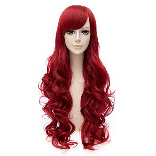 Long Curly Hair 80cm Women Girls Daily Basic Style Heat Resistant Cosplay Wig (Wine Red) ()