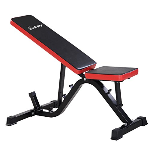 Goplus Adjustable Sit Up AB Incline Abs Bench Flat Fly Weight Press Gym Red