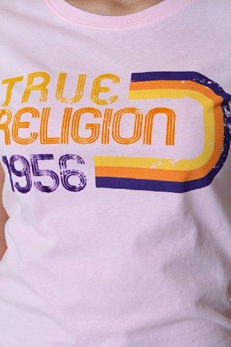 True Religion Camiseta 70'S RAINBOW FLOCKING TEE Rosa Claro