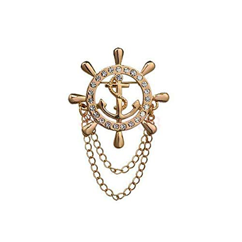 Charm Crystal Rudder Helm w/Chain Brooch Lapel Pin Mens Shirt Suit Accessories | Color - Gold