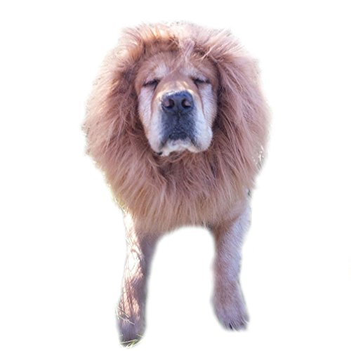 Emours Dog Lion Wig Mane Hair Cute Adorable Lion Costume Halloween Festival Party Fancy Dress Clothes Costume For Large Dogs Brown by Emours (Image #2)