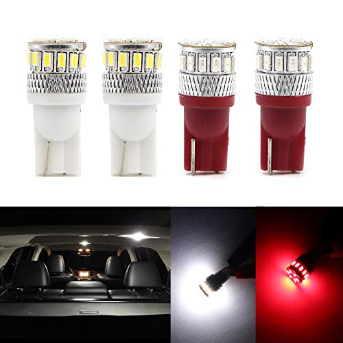 (Dantoo Super Bright T10 LED Bulbs 194 168 2825 175 192 W5W Wedge Dome Lights 18 SMD Light Lamp for for Car Interior Map License Plate Trunk Parking Light, 2 White + 2 Red)