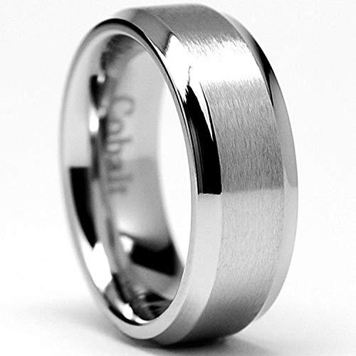 Cobalt Mens Ring - 8MM High Polish Matte Finish Men's Cobalt Chrome Ring Wedding Band Size 10