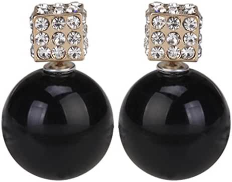 Eyourlife Fashion Womens Lady Earring Double Side Pearl Crystal Ear Studs Earrings Shiny Black