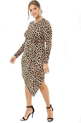 Plus Size Asymmetrical Leopard Print Twist-Waist Fitted Dress (2X) Tan ()