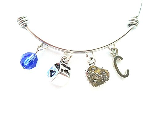 Milk and cookies themed personalized bangle bracelet. Antique silver charms and a genuine Swarovski birthstone colored element.