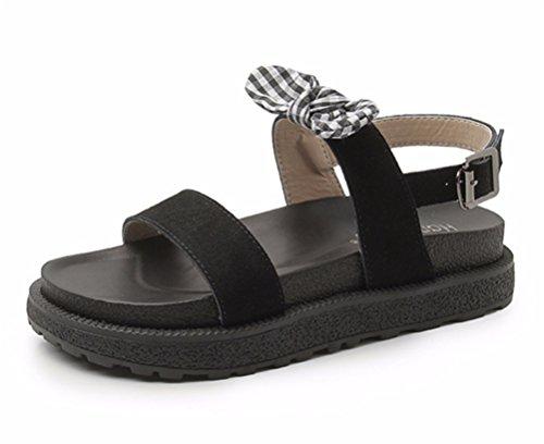 Abierta Punta Playa Corbata Plano Arco Zapatos Black Bohemia Hn Shoes Verano Sandalias Chanclas Mujer wS7n8qxX