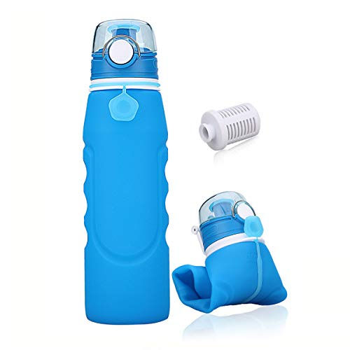 SbuyCoo Collapsible Water Bottle Leak Proof Valve Bottles with Filter for Travel Sport Cycling Hiking Camping BPA Free,1L (35fl oz),Blue ()