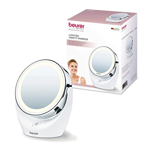 Beurer 5x Magnifying Double Sided Cosmetic Vanity Makeup Mirror Illuminated LED Lights, 360 Degree Swivel Rotation, BS49 ()