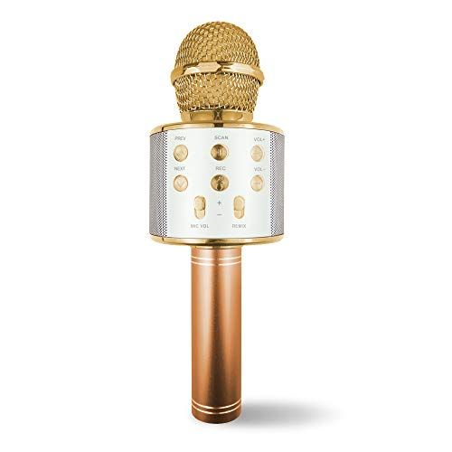 Singing Microphone for Girl Kid, Birthday Present for 5-12 Year Old Girl Toy Gift for 4-8 Year Old Boy Children Microphone Speaker Gift for Girls Bluetooth Microphone Gift Age 4 5 6 Girls Mic Gold