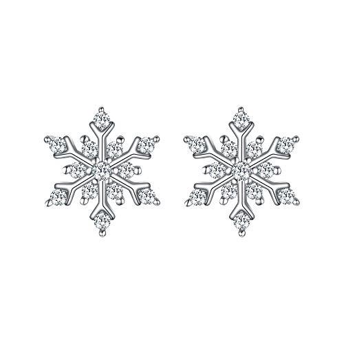 EleQueen 925 Sterling Silver Cubic Zirconia Winter Snowflake Stud Earrings - Sterling Silver Snowflake Earrings
