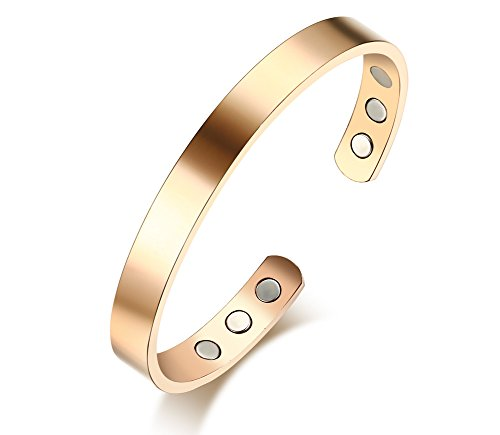 VNOX Free Engraving-Mens Womens 8MM Pure Copper Plain Magnetic Inlay Therapy Health Cuff Bangle - Customize It