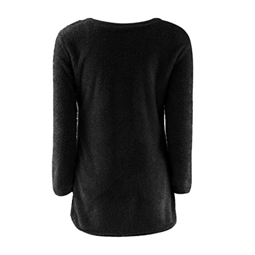 FEITONG Mujer batwing Manga Suelto Suéter Pull-over Casual Parte superior Blusa Negro B