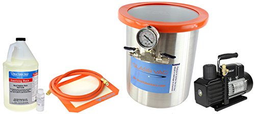 Glass Vac 3 Gallon Stainless Steel Vacuum Chamber, 1 Gallon Not Premixed Wood Stabilizing Resin, and New VE225 4CFM 2 Stage Pump- Ultimate Wood Stabilizing Kit