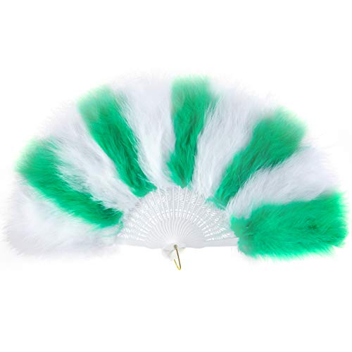 Dancing With The Stars Halloween Costumes (BABEYOND Roaring 20s Vintage Style Folding Handheld Flapper Marabou Feather Hand Fan for Costume Halloween Dancing Party Tea Party Variety Show 11 Inches X 20 Inches (White and)