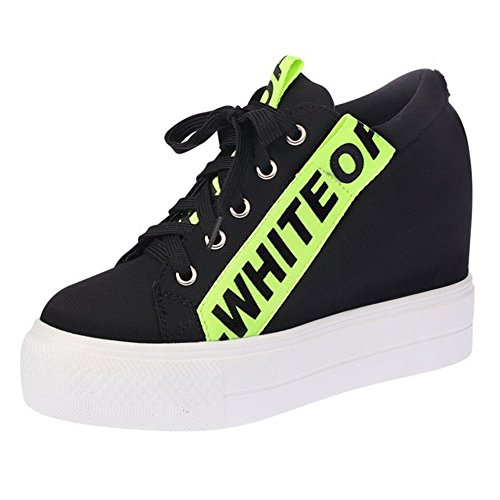 CYBLING Casual Outdoor Women Platform Wedge Sneakers with Hidden High Heels Lace Up Walking Shoes Green AIsoq