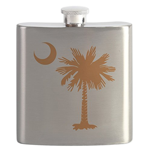 CafePress - SC Palmetto Crescent (2) Orange.Png - Stainless Steel Flask, 6oz Drinking Flask -