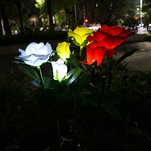 Outdoor Solar Garden Stake Lights 3 Pack 6 Colorful Rose Flowers, Waterproof Solar Garden Flower Lights for Christmas,Valentine's Day,Mother's Day,Garden Patio Backyard Decoration(White,Red,Yellow)