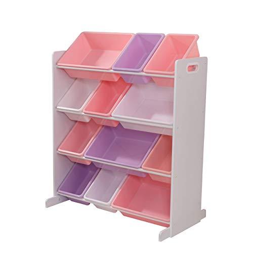 KidKraft Sort It and Store It 12 Bin Unit, White with Pastel Bins