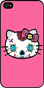 Kitty Sugar Skull- Hard Black Plastic Snap - On Case with Soft Black Rubber Lining-Apple Iphone 4 - 4s - Great Quality! by icecream design
