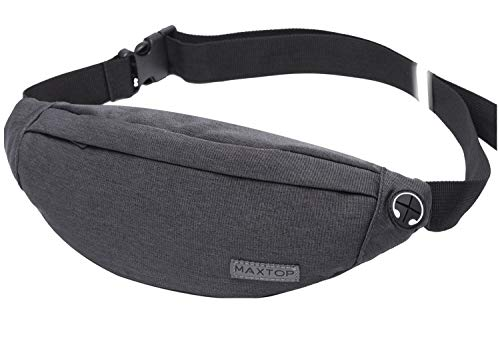 Fanny Pack for Men Women Unisex Waist Pack Bag with Headphone Jeck & 3-Zipper Pockets Lightweight belt bag for Outdoors Workout Casual Party Festival Travel Running (Fanny Fabric Pack)